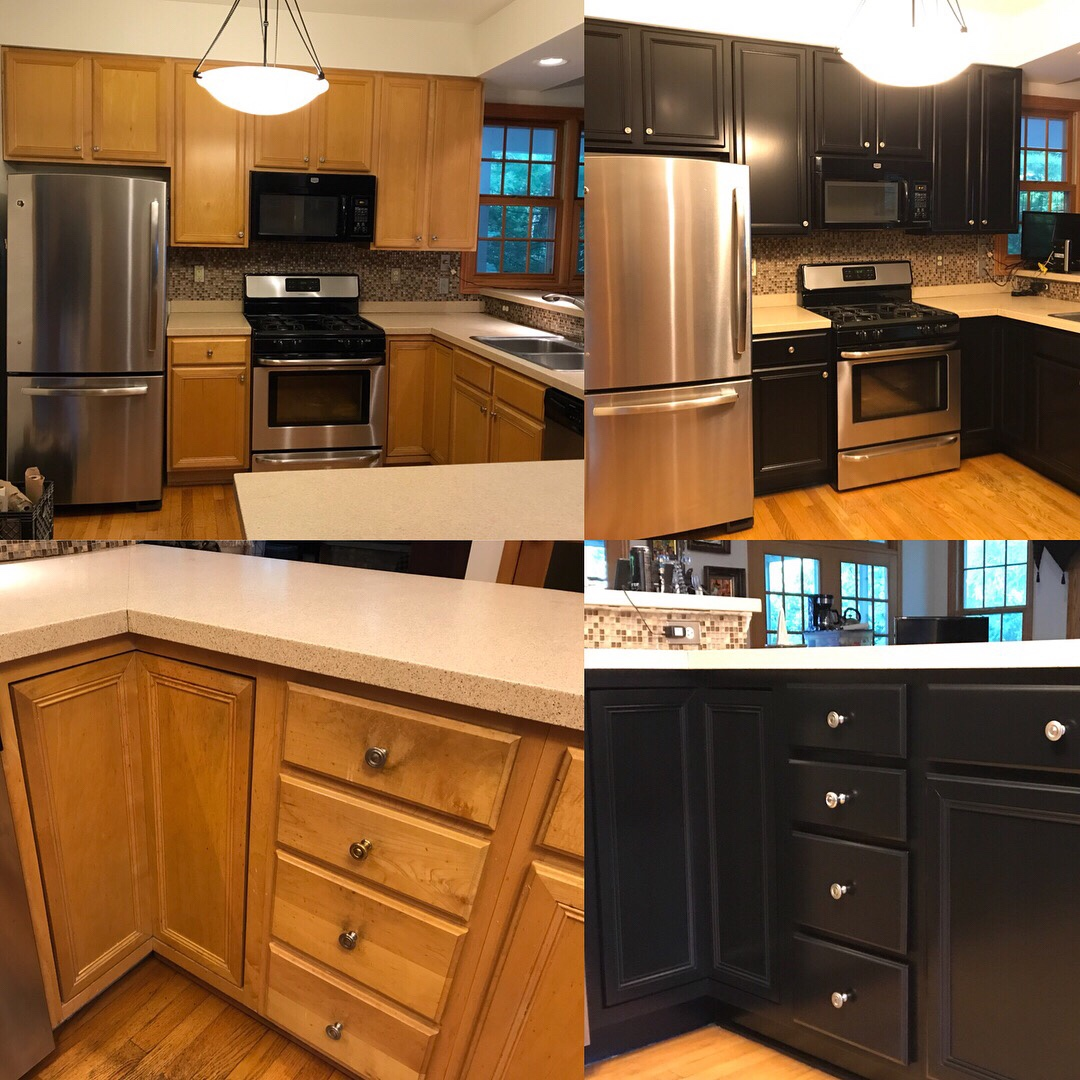 Repainting Old Kitchen Cabinets: Kitchen Cabinet Refinishing. Maple To Black Satin